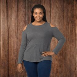 T31PLUS Women's Plus Size Cold Shoulder Long Sleeve T-Shirt Thumbnail